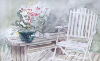 Garden Chair watercolour by Teresa L'Hirondelle